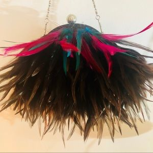 Bags - Feathered Clutch